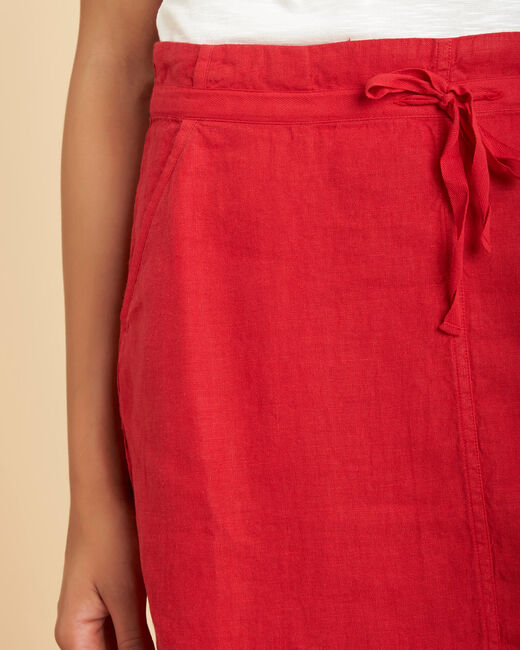Lumio red linen skirt with tie (1) - 1-2-3