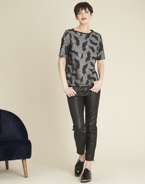 Grace grey blouse with feather print (2) - Maison 123