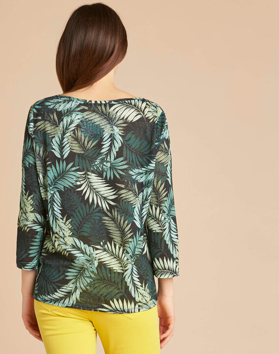 Ebahi leaf print T-shirt with 3/4 length sleeves (4) - 1-2-3