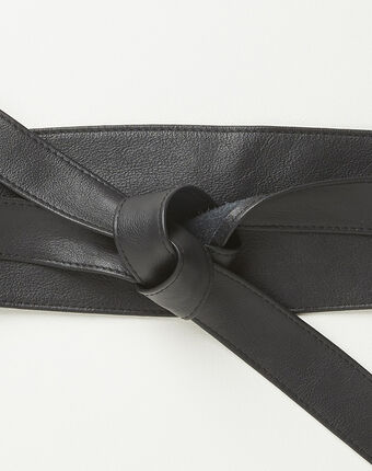 Raul wide tie belt in black leather black.