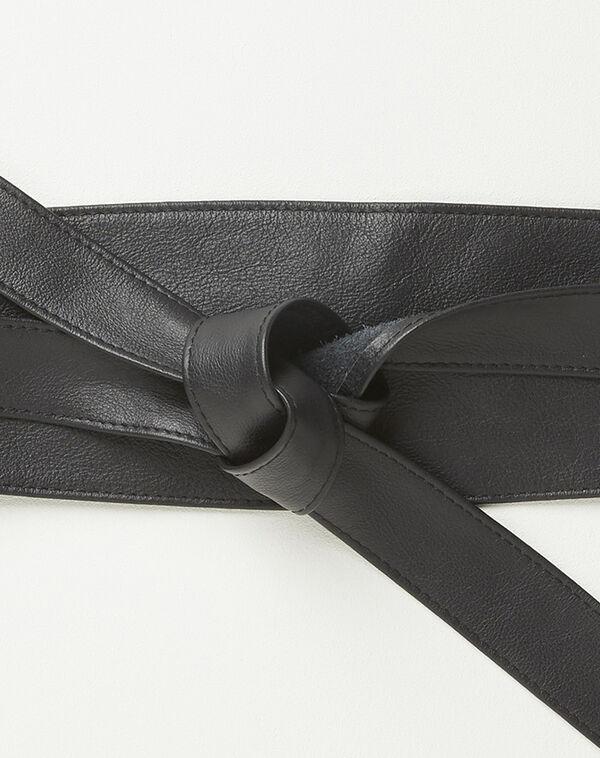 Ceinture large noire en cuir à nouer Raul (2) - 1-2-3