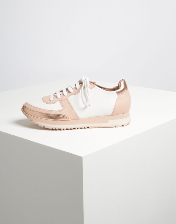 King rose gold and white leather trainers PhotoZ | 1-2-3
