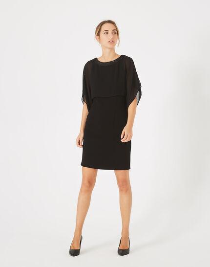 Anita black dress with flounces and diamante collar (1) - 1-2-3