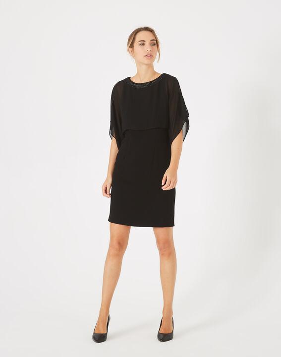 Robe noire à volants col bijou Anita PhotoZ | 1-2-3