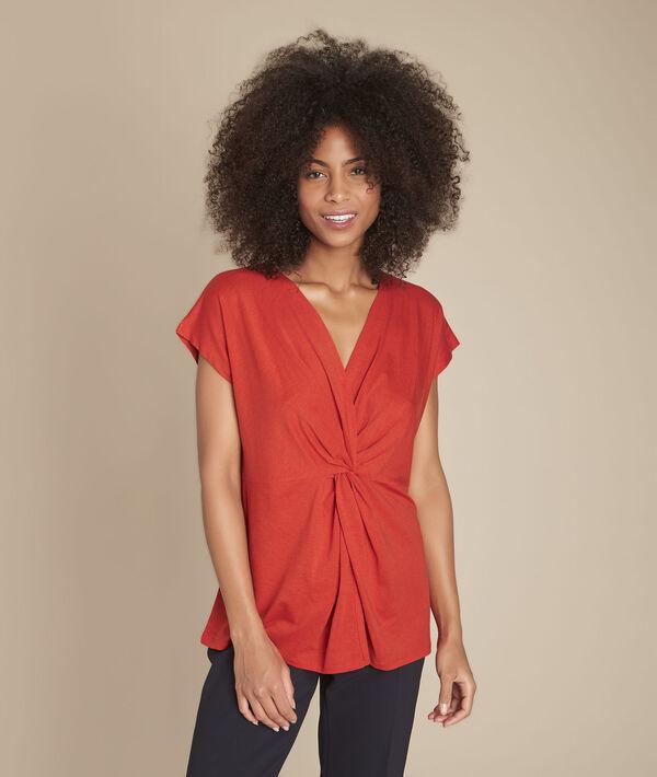 Tee-shirt orange plis effet cache-cœur Carine PhotoZ   1-2-3