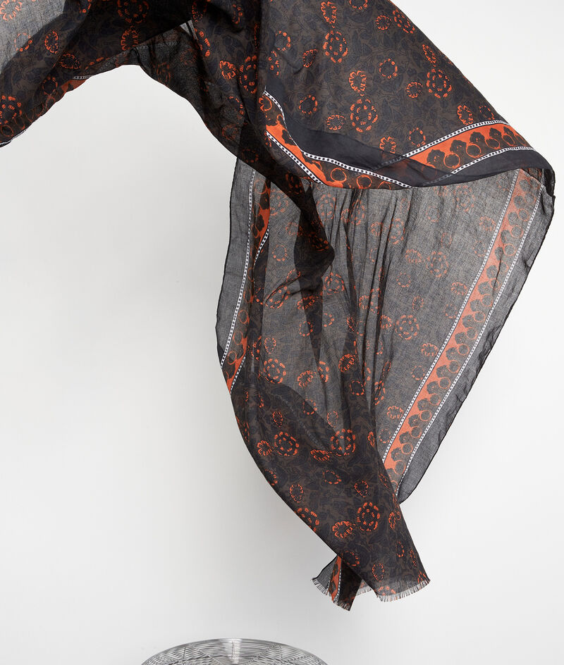 Foulard en coton imprimé noir et orange Pablo PhotoZ | 1-2-3