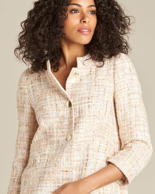 Kurze cremefarbene Tweed-Jacke Cookie (2) - 1-2-3