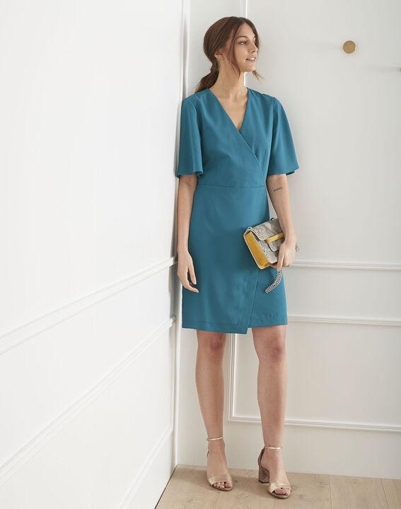 Robe bleue en crêpe portefeuille Harita (2) - Maison 123
