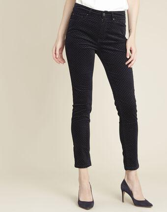 Marineblaue slim jeans aus samt mit pünktchen vendome marineblau.