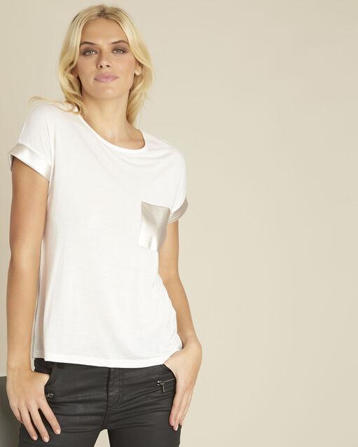 Tee-shirt blanc empiècement faux cuir Gimini (1) - 1-2-3