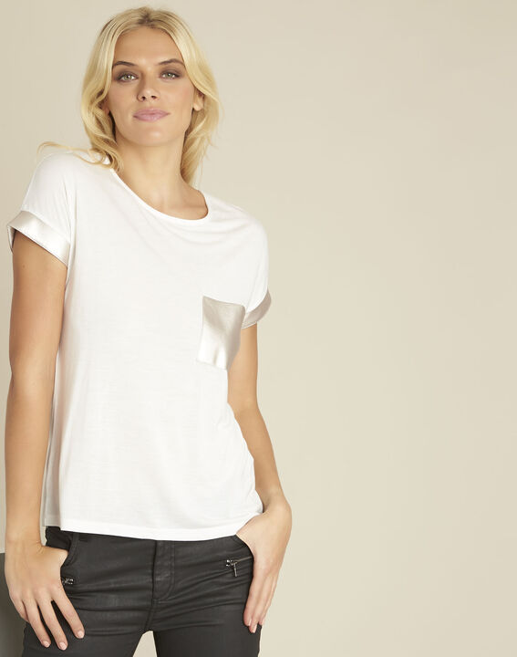 Tee-shirt blanc empiècement faux cuir Gimini PhotoZ | 1-2-3