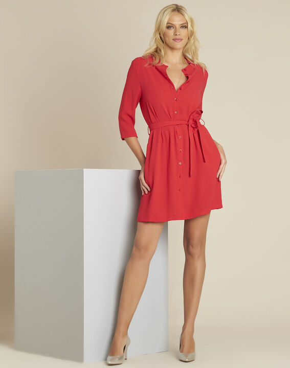 Donovan red buttoned belted crepe dress (3) - 1-2-3