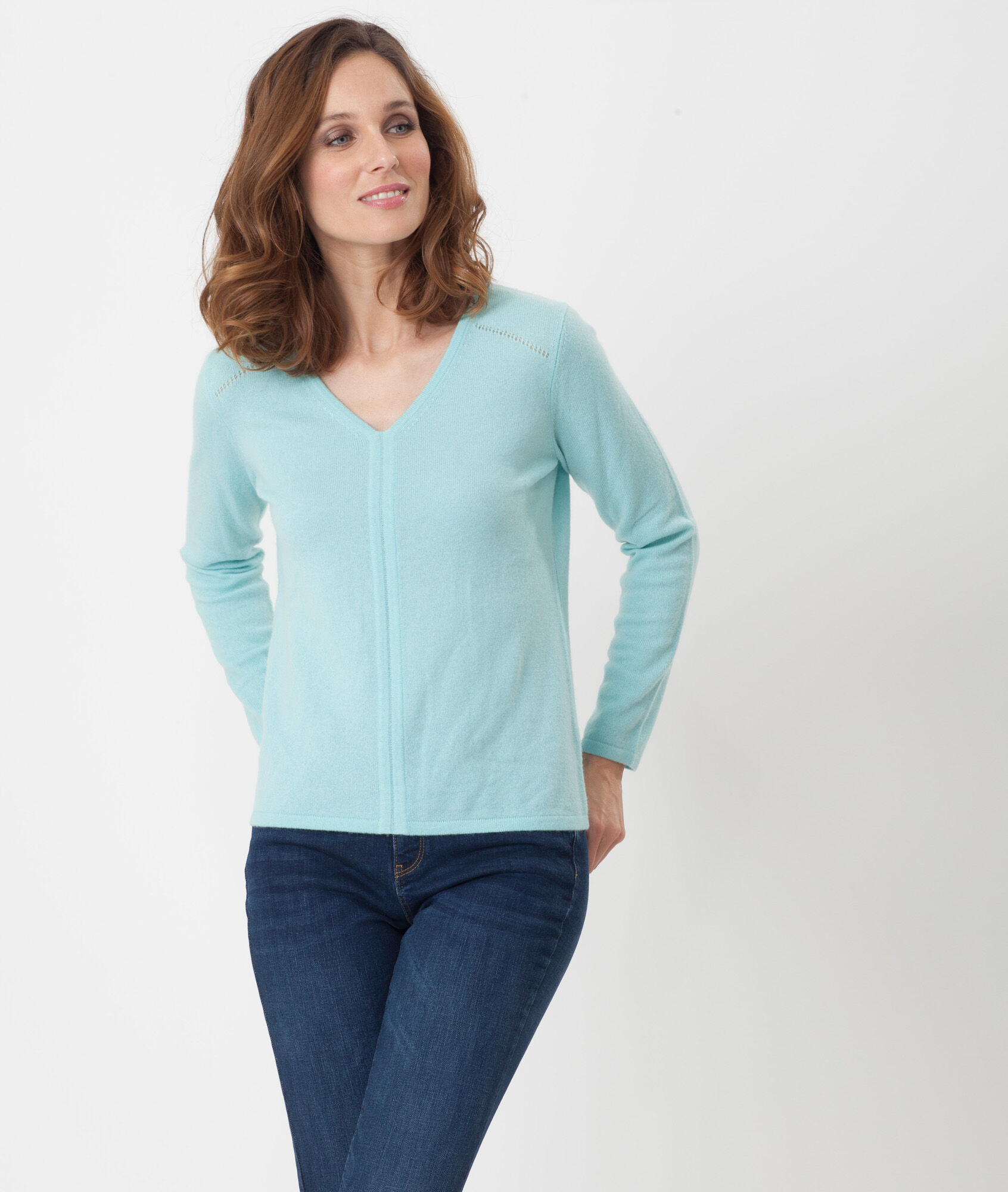 Heart turquoise cashmere sweater - 123