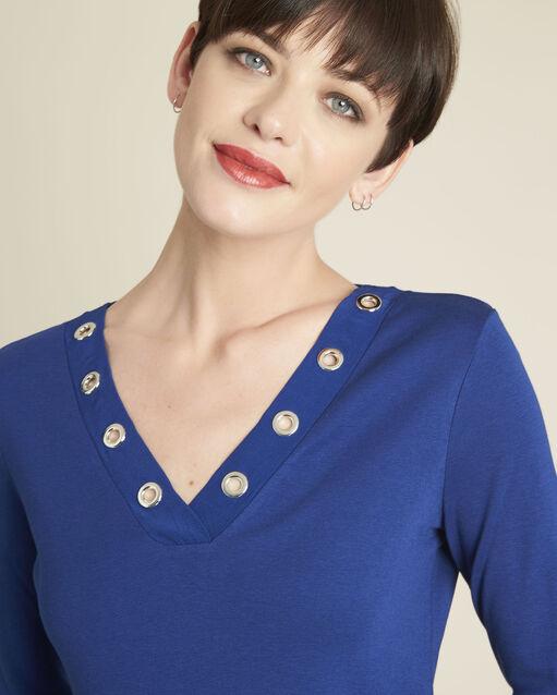Tee-shirt bleu encolure en V oeillets Basic (2) - 1-2-3