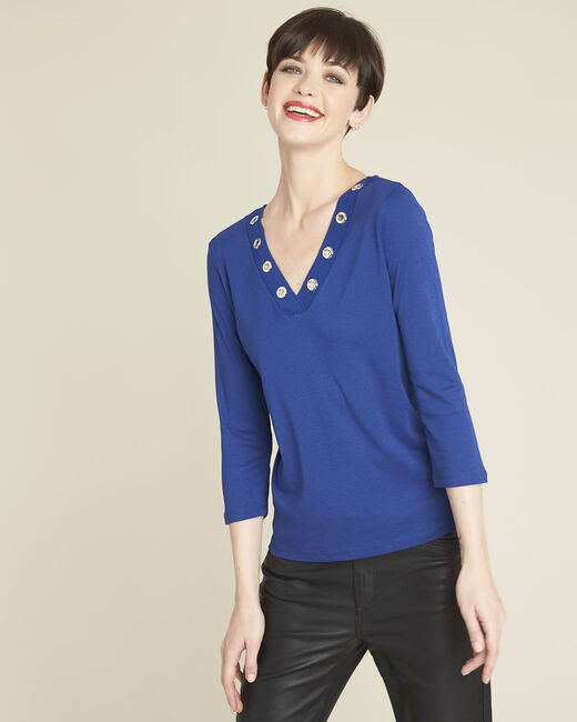 Tee-shirt bleu encolure en V oeillets Basic (1) - 1-2-3