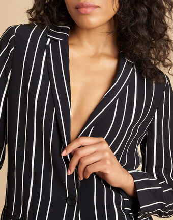 Charlie black striped fitted jacket black/white.