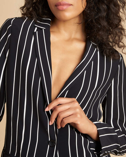 Charlie black striped fitted jacket (1) - 1-2-3