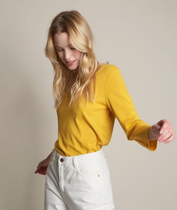 Tee-shirt jaune col fantaisie Calypso PhotoZ | 1-2-3