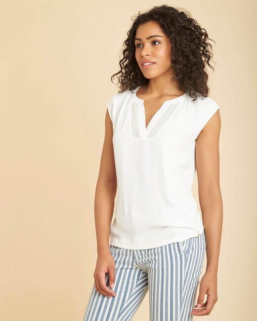 Tee-shirt écru bimatière manches courtes col résille Bianca (2) - 1-2-3