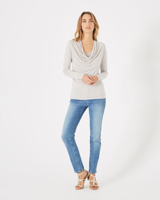 Ballet light grey lacy T-shirt with cowl neck (1) - 1-2-3