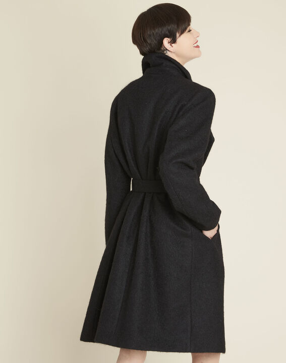 Eliane black boiled wool coat with shawl collar (4) - Maison 123