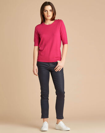 Natacha fuchsia sweater with rounded neckline dark fuchsia.