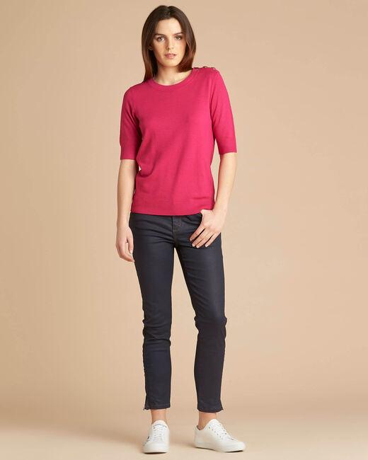 Natacha fuchsia sweater with rounded neckline (1) - 1-2-3