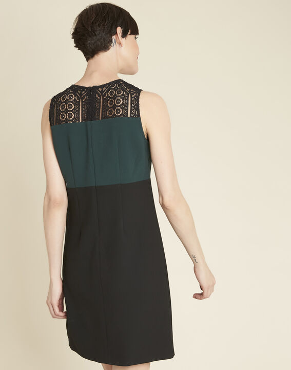 Noe emerald green dual-fabric dress with lace neckline (4) - 1-2-3