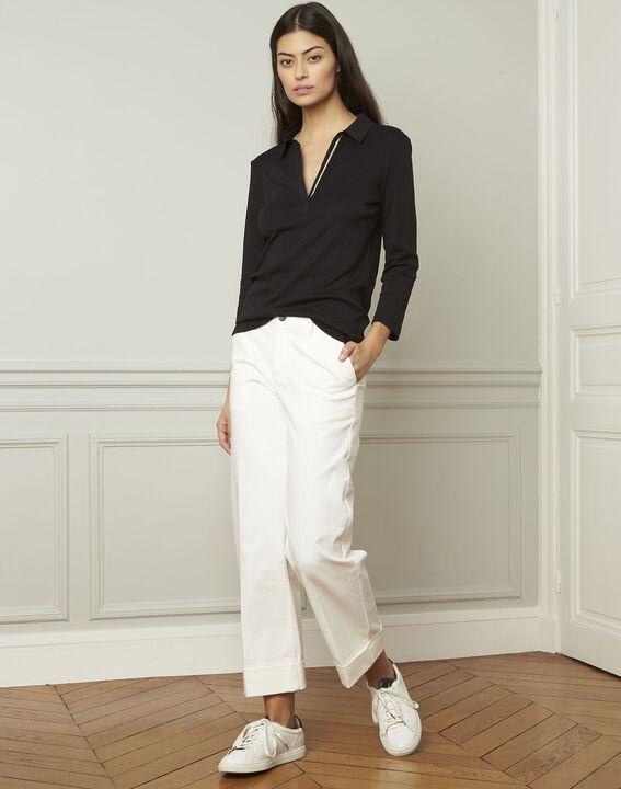 Schwarzes T-Shirt mit V-Ausschnitt aus Lurex Primerose (2) - Maison 123