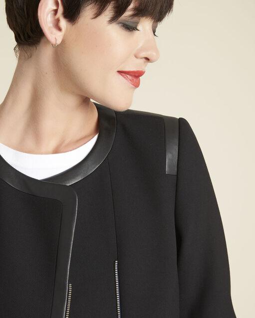 Veste noire compacte détails faux cuir Saga (2) - 1-2-3