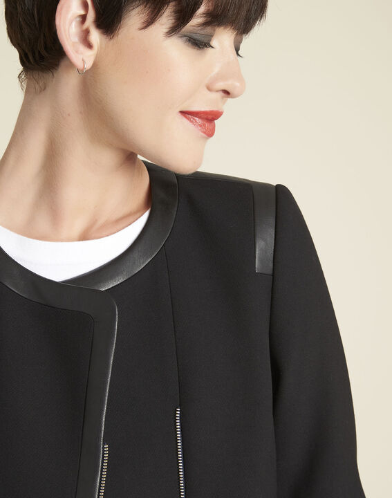 Saga compact black jacket with faux leather details (3) - 1-2-3