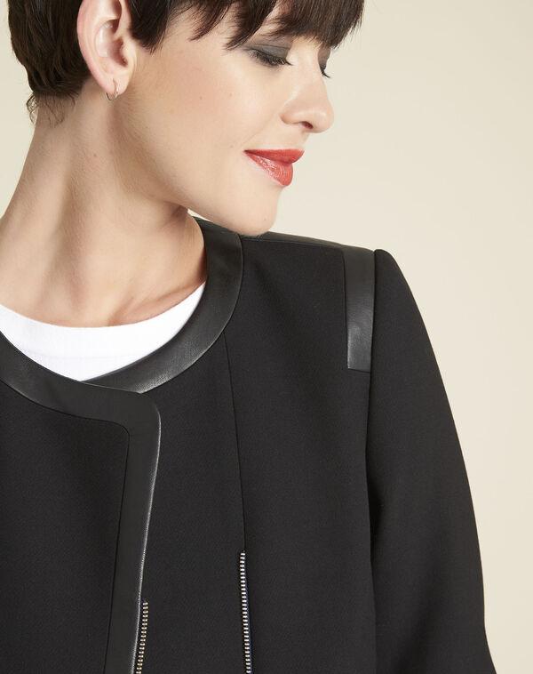 Schwarze kompakte Jacke mit Kunstlederdetails Saga (2) - 1-2-3