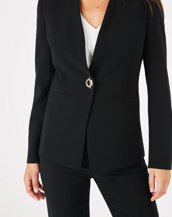Majeste black mid-length tailored jacket black.