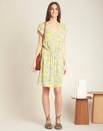 Robe jaune imprimée à cordon palma citron.