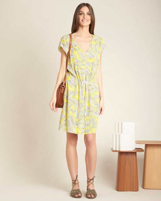 Palma yellow printed dress with tie (1) - 1-2-3