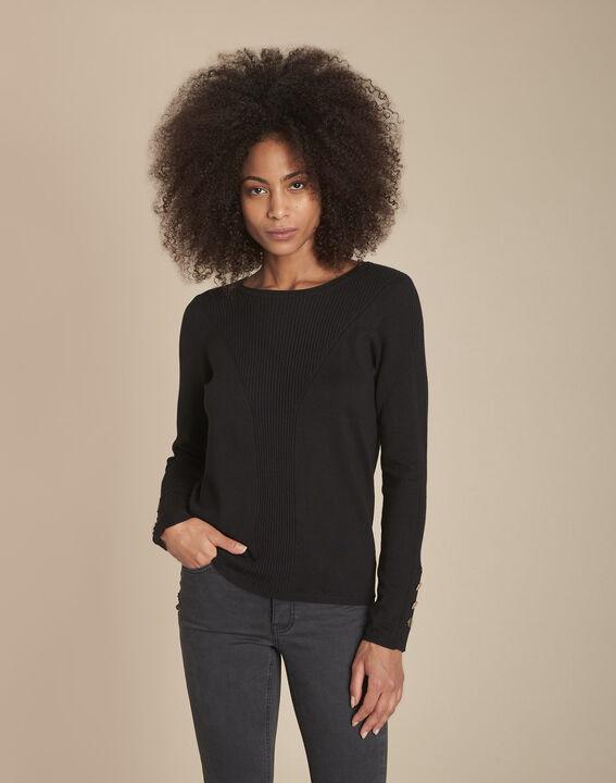 Pull noir en jersey Flora PhotoZ | 1-2-3