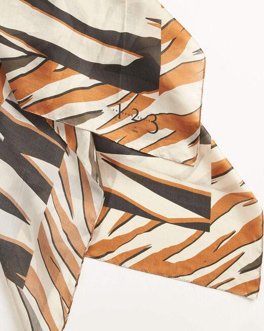 Carré de soie marron imprimé zebre Adi (2) - 1-2-3