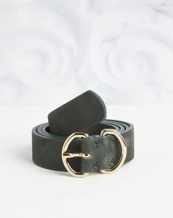 Roxana velvet-effect wide green leather belt dark green.