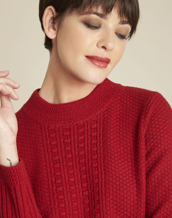 Brindille red high collar wool mix pullover (3) - 1-2-3