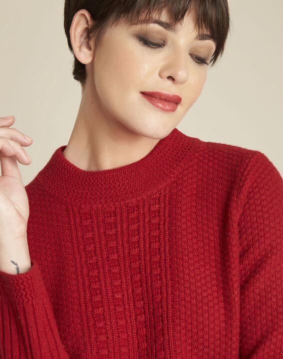 Pull rouge col montant laine mélangée Brindille (3) - 1-2-3