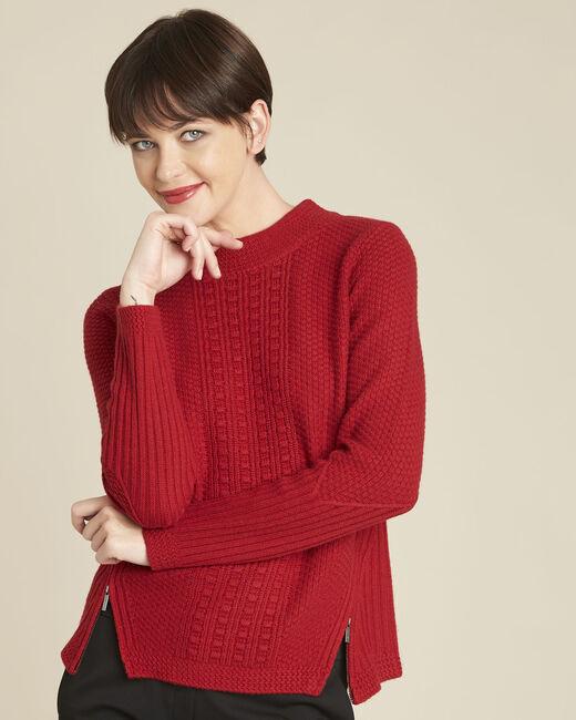 Pull rouge col montant laine mélangée Brindille (2) - 1-2-3