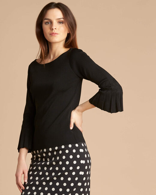 Nina black sweater with pagoda sleeves (2) - 1-2-3