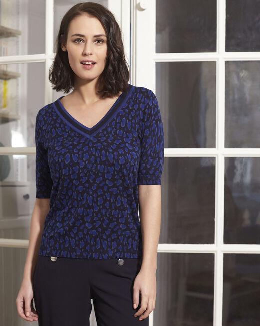 Marineblauer Kurzarm-Pullover mit Print Baobab (2) - 1-2-3