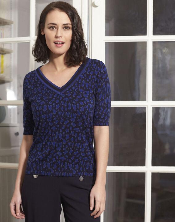 Marineblauer Kurzarm-Pullover mit Print Baobab PhotoZ | 1-2-3