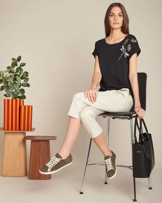 Schwarzer Kurzarm-T-Shirt mit Stickereien Epirrhoe (1) - 1-2-3