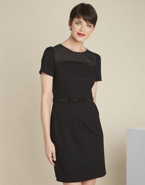 Schwarzes Kleid mit Strass-Details Ness (2) - 1-2-3