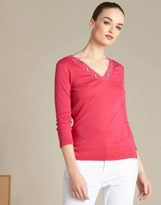 Tee-shirt fuchsia col V à oeillets Basic (3) - 1-2-3