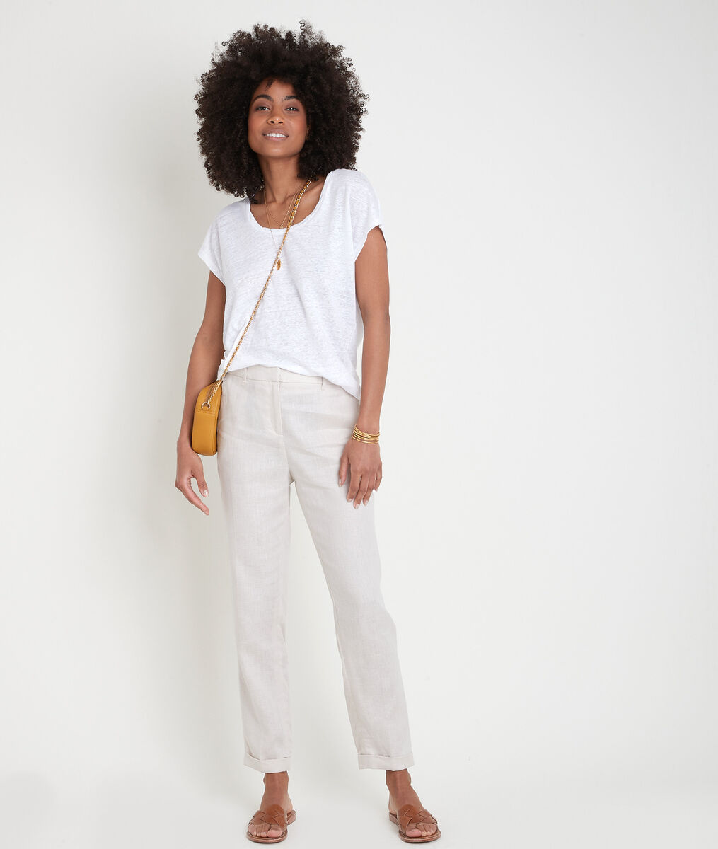 Pantalon chino en lin beige Felix Bis PhotoZ | 1-2-3