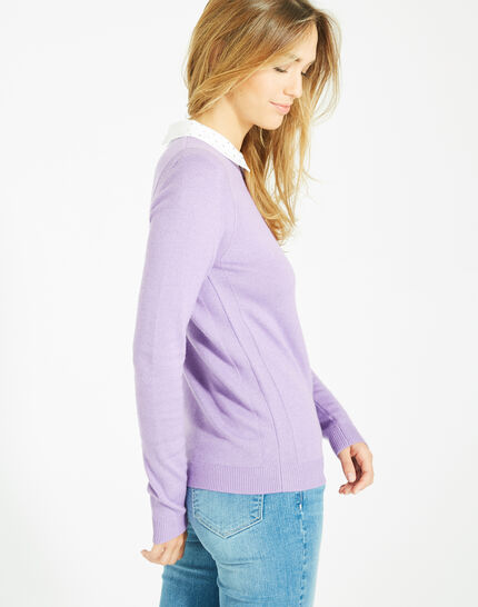 Pretty lilac sweater with stylish neckline (2) - 1-2-3