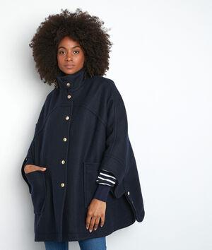 Marineblauwe elegante cape van wol